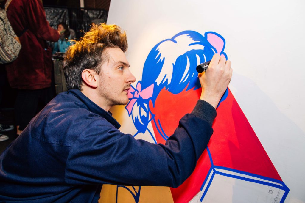 Local artist Kris Jones live drawing on the night
