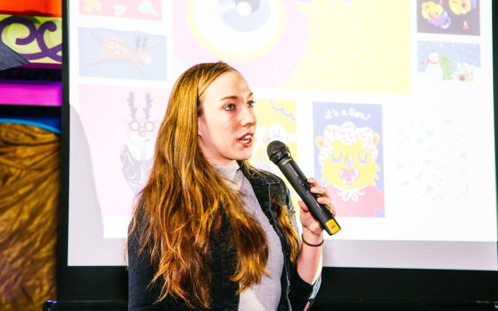 Illustrator Marylou Faure on stage at Glug Birmingham