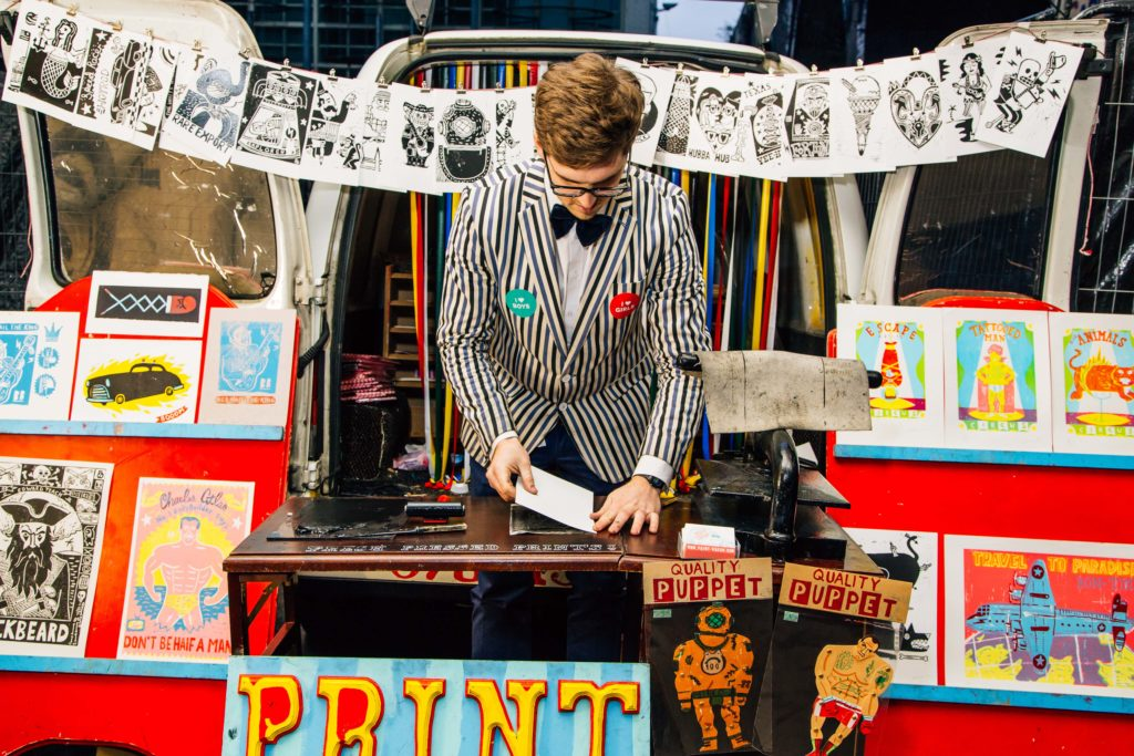 Aidan Saunders rolled up with his Print Wagon running demo workshops throughout the night