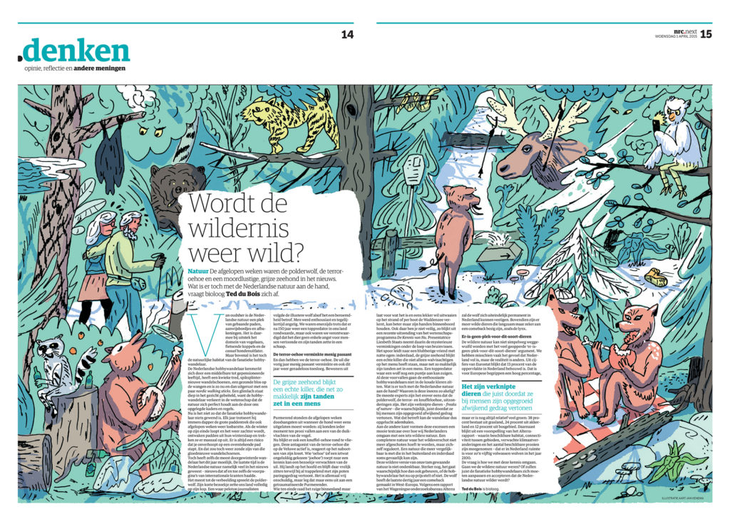 Editorial illustration for Denken by Aart-Jan Venema