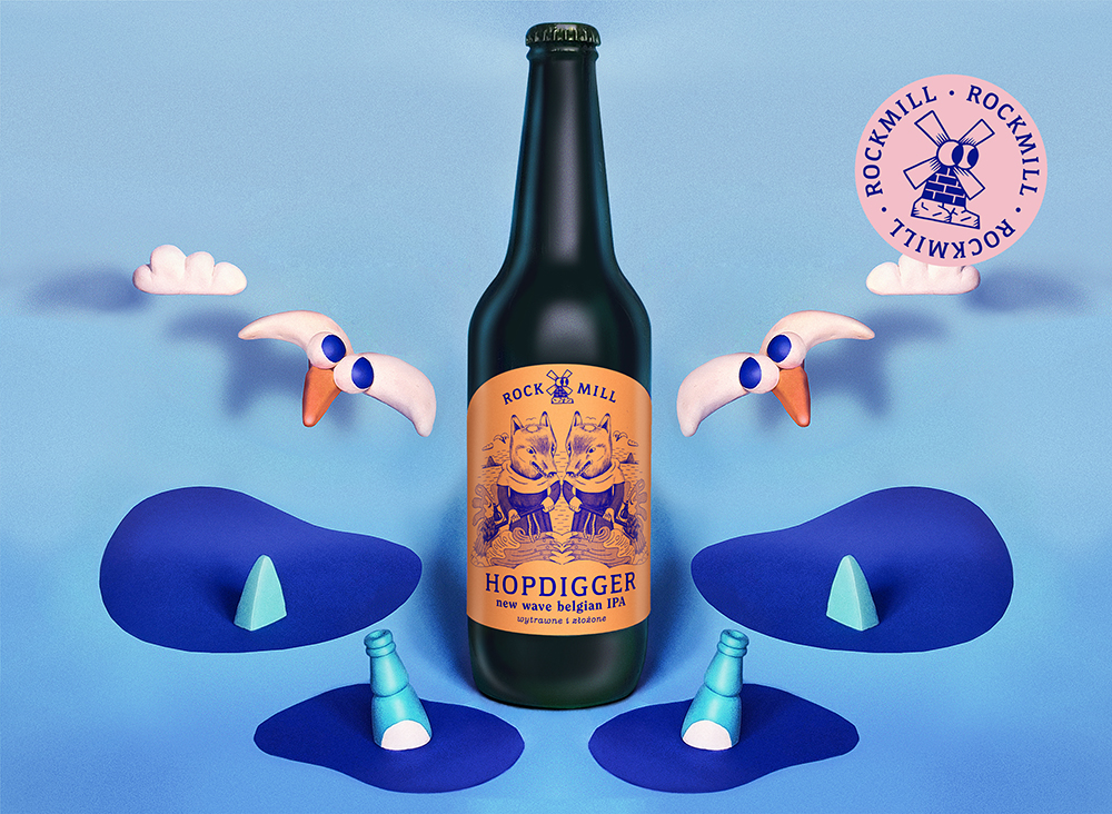 Label illustration and logotype for Polish craft beer Rockmill Brewery