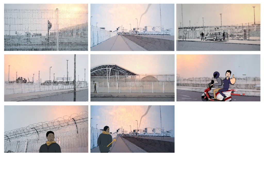 Storyboard sequence from short film 'Strangers'