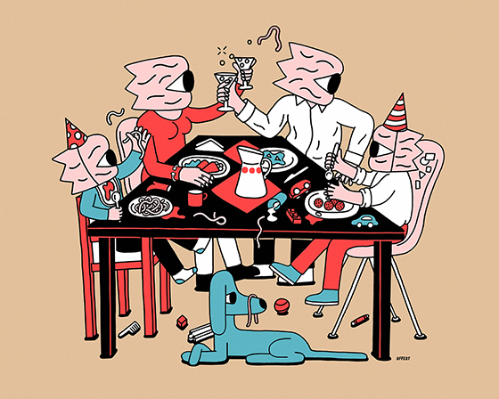 'FEAST' - a series of illustrations around a table.