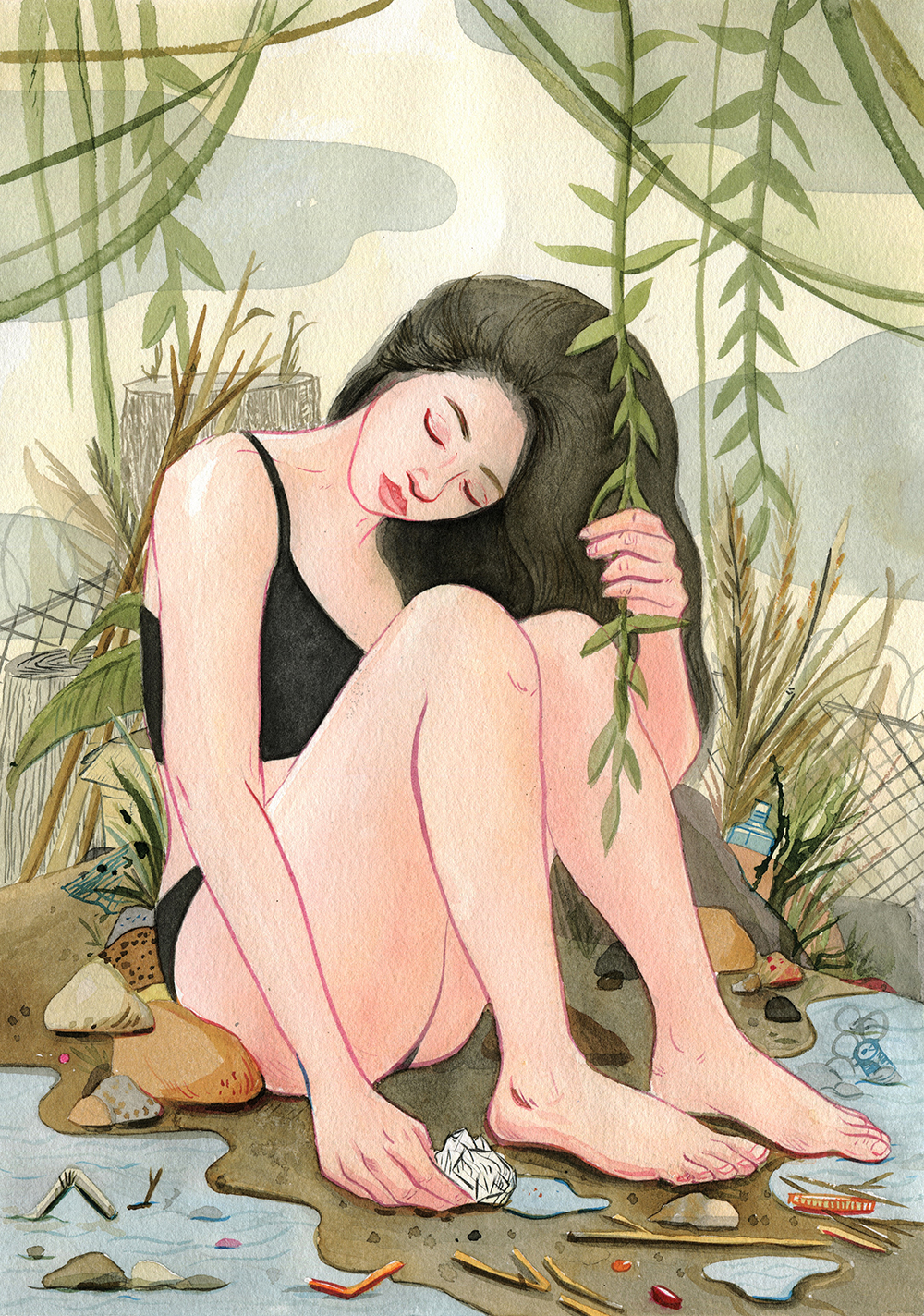'Catching Water' from a series of paintings about environmentalism titled 'Mother Earth Feels'.