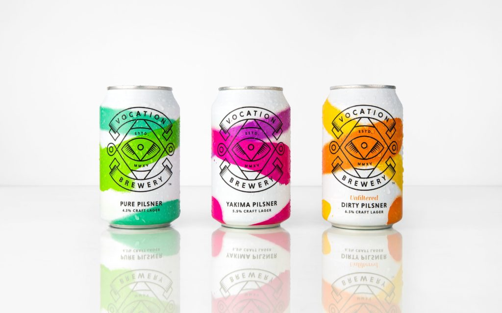 Packaging design for Vocation Brewery craft lager
