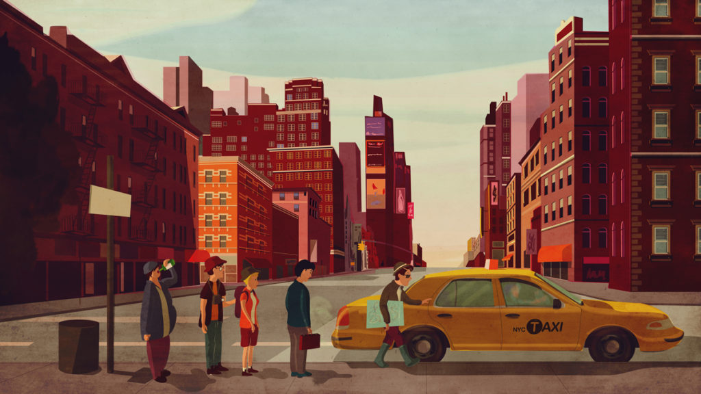 New York taxi driver illustration