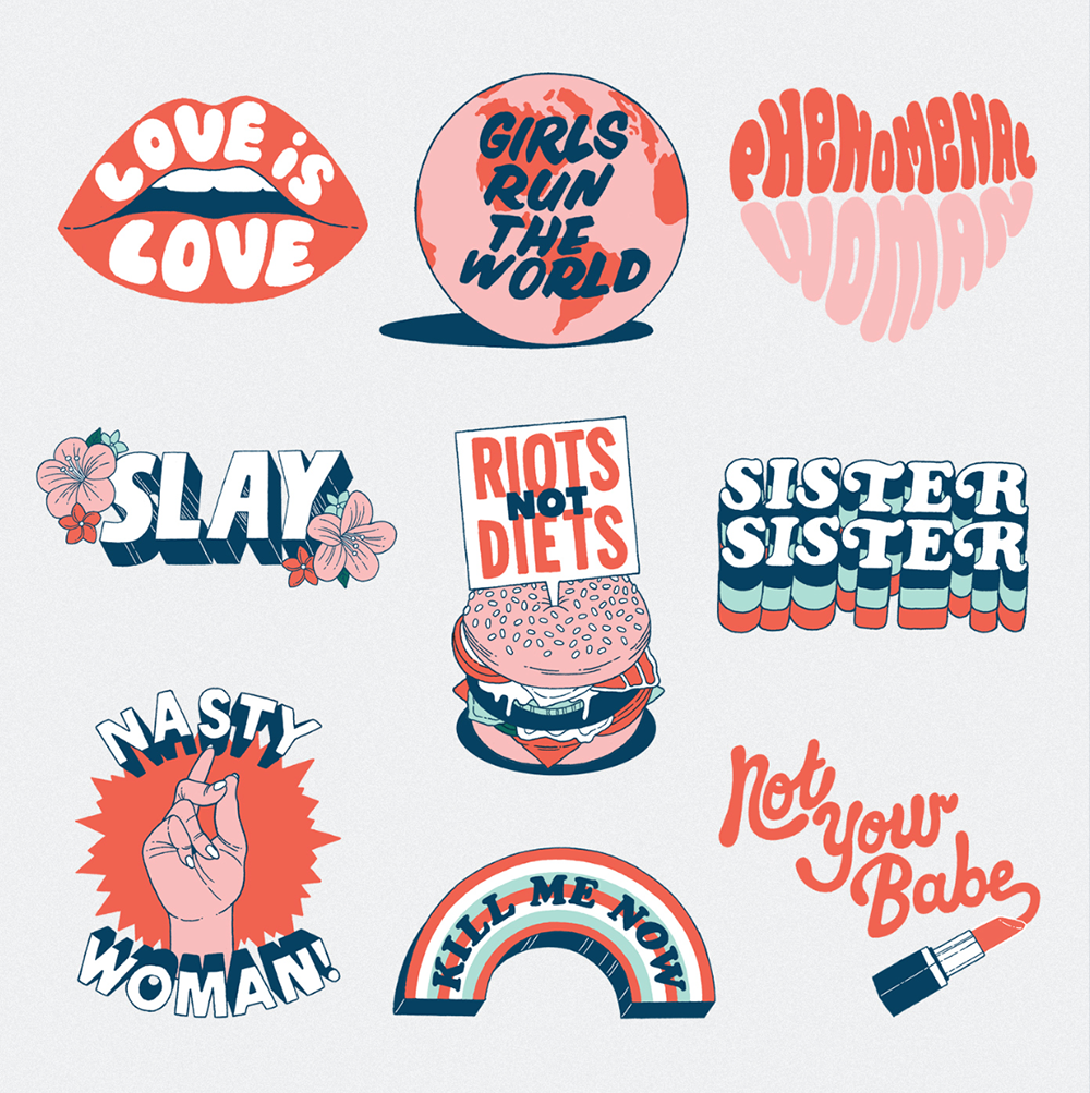 stickers, Grand Matter, To The Girls, design, illustration